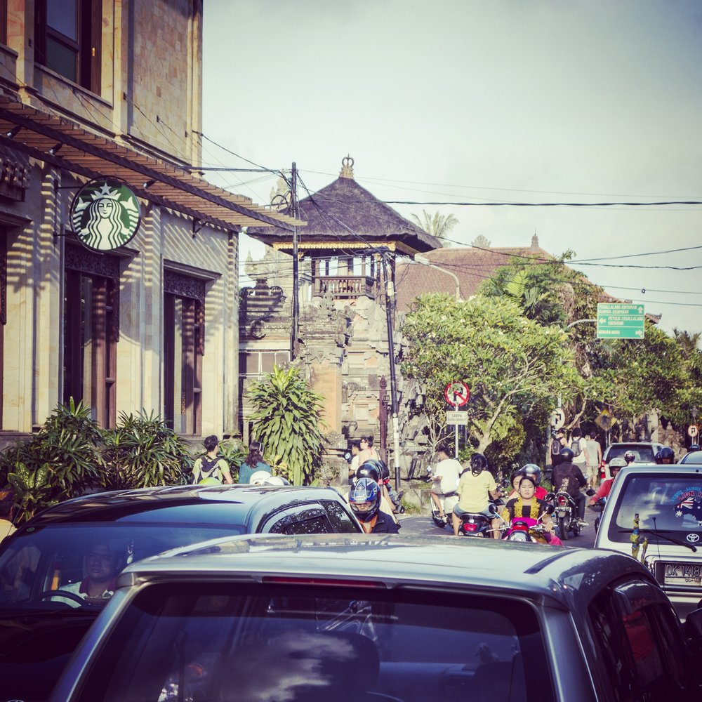 A Starbucks coffee shop in the center of Ubud