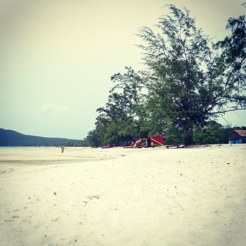 The white sand beach in Saracen Bay, Koh Rong Samloem