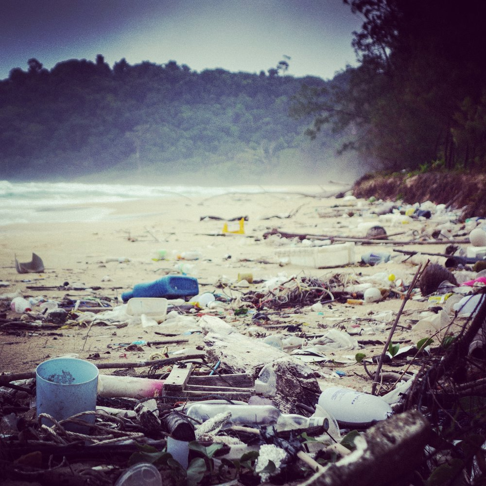 Trash on the west beach of Koh Rong Samloem